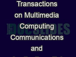 In ACM Transactions on Multimedia Computing Communications and Applications Feb