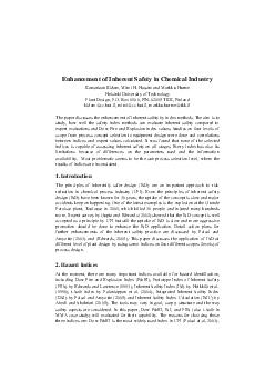Enhancement of Inherent Safe ty in Chemical Industry
