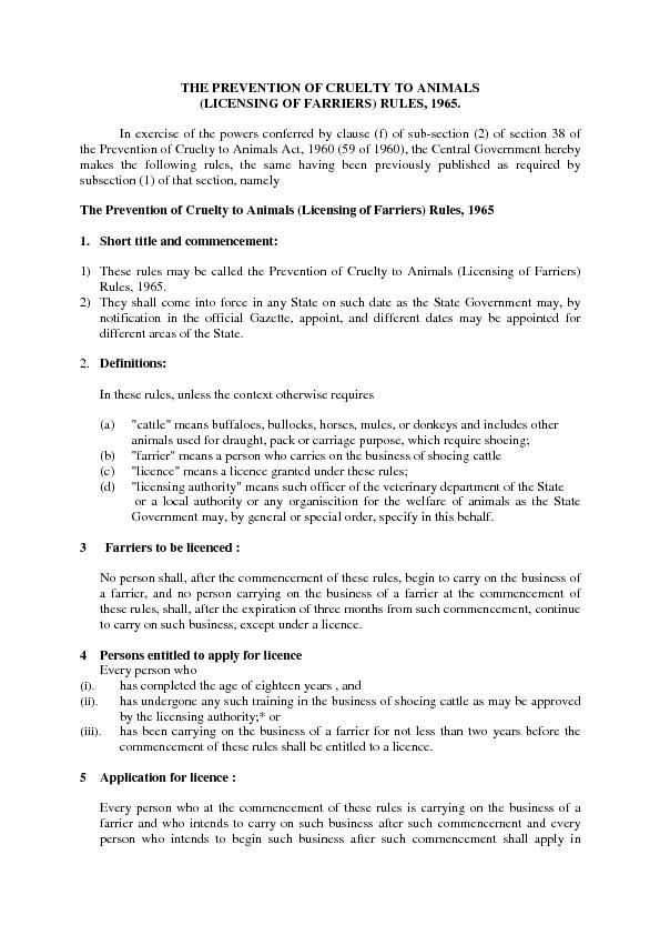 THE PREVENTION OF CRUELTY TO ANIMALS(LICENSING OF FARRIERS) RULES, 196