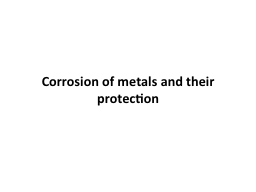 Corrosion of metals and their protection