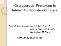 Osteoporosis Prevention in Inhaled