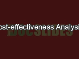 Cost-effectiveness Analysis: