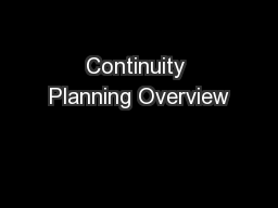 Continuity Planning Overview
