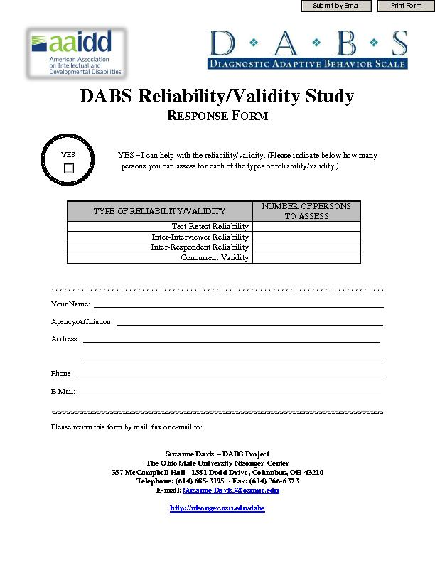 DABS Reliability/Validity StudyESPONSE ORM YES  I can help with the re