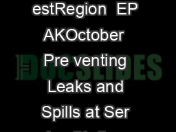United States En vironmental Protection Agency Pa ci c Southw estRegion  EP AKOctober  Pre venting Leaks and Spills at Ser vice Stations A Guide for F acilities Pre venting Leaks and Spills at Ser vi