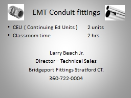 EMT Conduit fittings PowerPoint PPT Presentation