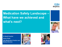 Medication Safety Landscape – What have we achieved and w PowerPoint PPT Presentation