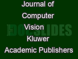 International Journal of Computer Vision     Kluwer Academic Publishers