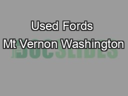 Used Fords Mt Vernon Washington