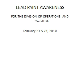 LEAD PAINT AWARENESS