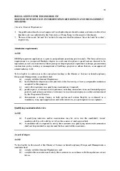 REGULATIONS FOR THE DEGREE OF MASTER OF SCIENCE IN INTERDISC IPLINARY DESIGN AND MANAGEMENT MScIDM See also General Regulations