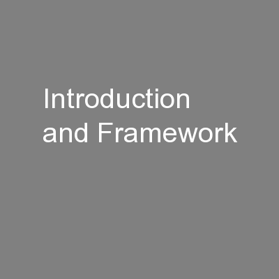 Introduction and Framework PowerPoint PPT Presentation
