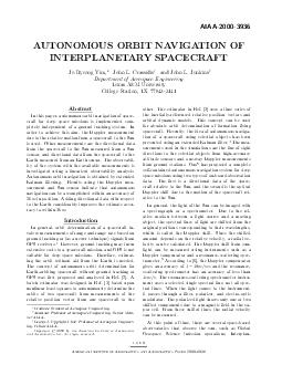 AIAA UTONOMOUS ORBIT NA VIGA TION OF INTERPLANET AR SP CECRAFT Jo Ry eong Yim John L