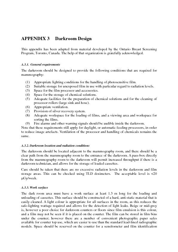 APPENDIX 3 Darkroom Design This appendix has been adapted from materiP PowerPoint PPT Presentation