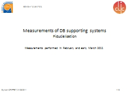 Measurements of DB supporting systems PowerPoint PPT Presentation