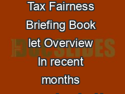 Corporate Tax Inversions  Tax Fairness Briefing Book let Overview In recent months several major U