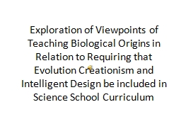 Exploration of Viewpoints of Teaching Biological Origins in