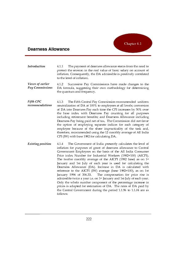 Introduction 4.1.1 The payment of dearness allowance stems from the ne