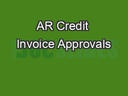 AR Credit Invoice Approvals