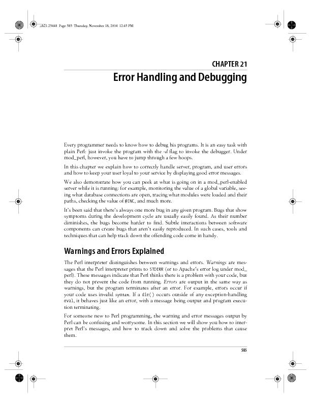 Error Handling and Debugging