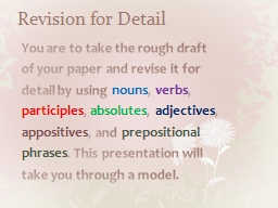 Revision for Detail