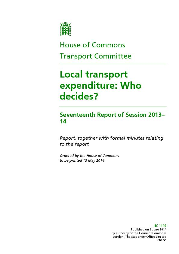 HC 1140Published on 3 June 2014by authority of the House of CommonsLon