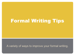 Document writing tips