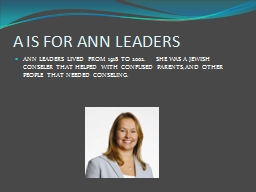 A IS FOR ANN LEADERS