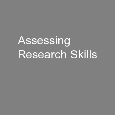 Assessing Research Skills