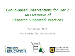 Group-Based Interventions for Tier 2 PowerPoint PPT Presentation