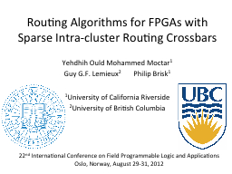 Routing Algorithms for FPGAs with Sparse Intra-cluster Rout