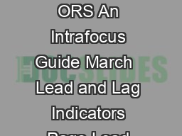 LEAD AND LAG INDICAT ORS An Intrafocus Guide March   Lead and Lag Indicators Page Lead and Lag Indicators