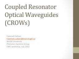 Coupled Resonator Optical Waveguides (CROWs)