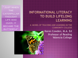Informational Literacy to Build Lifelong Learning