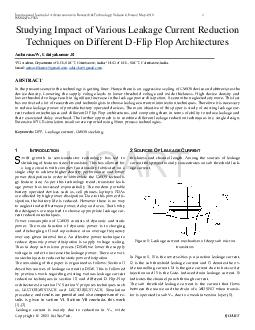 International Journal of Advancements in Research  Technology Volume  Issue May   ISSN   Studying Impact of Various Leakage Current Reduction Techniques on Different D Flip Flop Architectures Anbaras