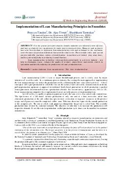 International OPEN ACCESS Journal Of Modern Engineering Research IJMER Implementation of Lean Manufacturing Principles in Foundries Praveen Tandon  Dr