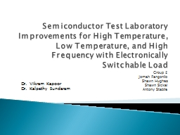 Semiconductor Test Laboratory Improvements for High Tempera PowerPoint PPT Presentation