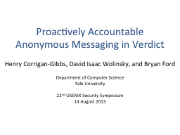 Proactively Accountable Anonymous Messaging in Verdict