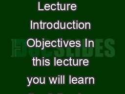 Module   Preventive Emergency and Restorative Control Lecture   Introduction Objectives In this lecture you will learn the following Nature of Control Actions in a Power System Brief recap on operati