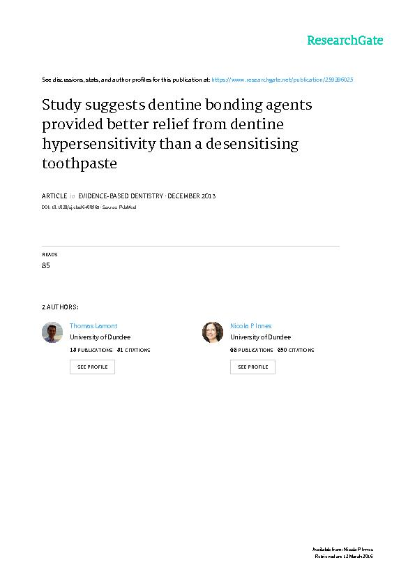 Study suggests dentine bonding agents provided better