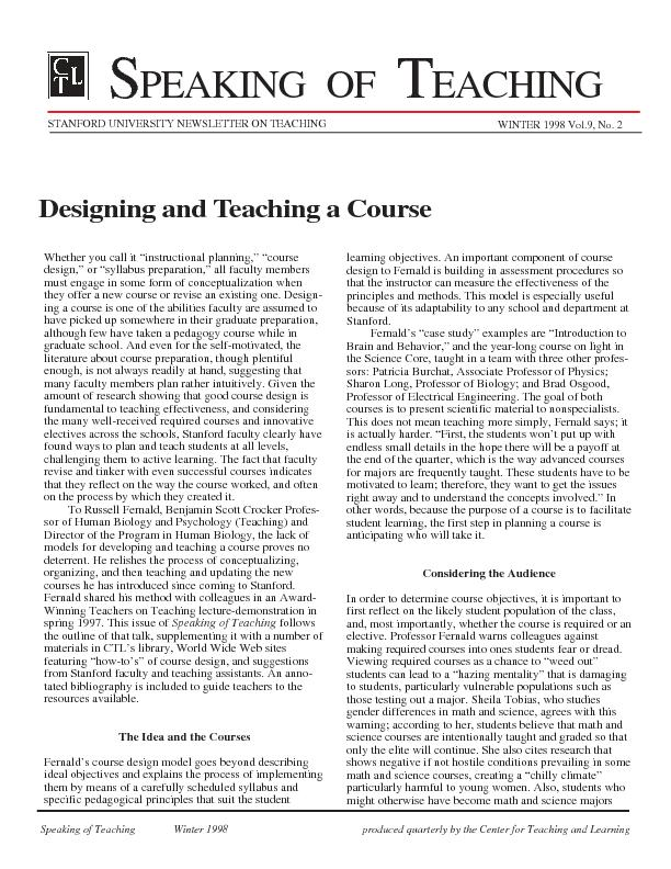 STANFORD UNIVERSITY NEWSLETTER ON TEACHING PDF document - DocSlides