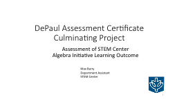 DePaul Assessment Certificate Culminating Project