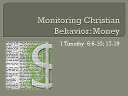 Monitoring Christian Behavior: Money PowerPoint PPT Presentation