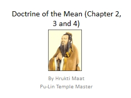 Doctrine of the Mean (Chapter 2, 3 and 4)