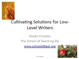 Cultivating Solutions for Low-Level Writers