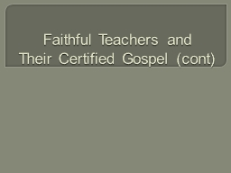 Faithful Teachers and