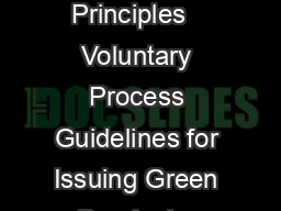 Green Bond Principles   Voluntary Process Guidelines for Issuing Green Bonds Jan PowerPoint PPT Presentation