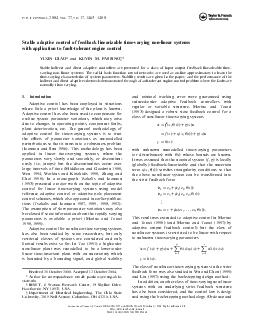 Stable adaptive control of feedback linearizable timevarying nonlinear systems with application to faulttolerant engine control YIXIN DIAO and KEVIN M PDF document - DocSlides