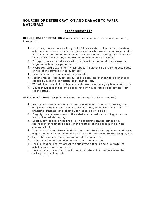SOURCES OF DETERIORATION AND DAMAGE TO PAPER  MATERIALS