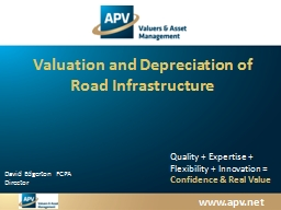 Valuation and Depreciation of Road Infrastructure